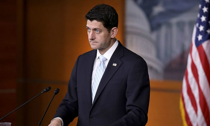 House speaker Paul Ryan (R-WI) during his weekly news conference in the Capitol Visitors Center at the U.S. Capitol in Washington, DC.  on Jan. 12, 2017. (Chip Somodevilla/Getty Images)