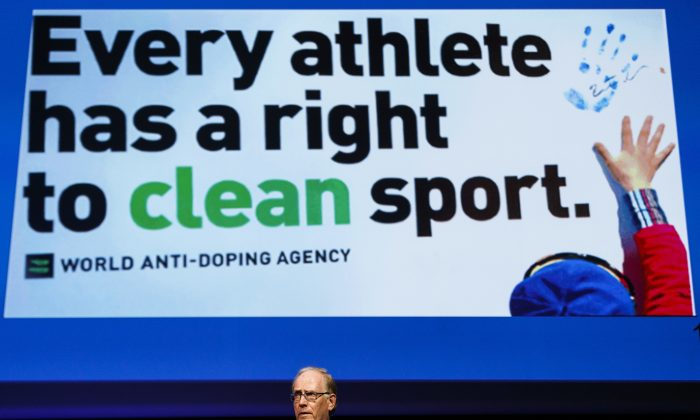 Lawyer Richard McLaren, investigator and report author for the world anti-doping agency , WADA, delivers his speech addressing his findings on Russian State-Sponsored doping systems during the opening day of the 2017 world anti-doping agency annual symposium, at the Swiss Tech Convention Center, in Lausanne, Switzerland, on March 13, 2017. (Valentin Flauraud/Keystone via AP)