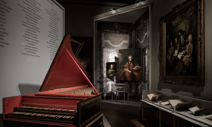 """A picture taken on November 28, 2016 at the Palace of Versailles shows a harpsichord and paintings displayed for the exhibition tilted """"Festivities and entertainment at court"""" at the Palace of Versailles. The exhibition runs from 29 November 2016 to 26 march 2017 and presents the variety and ingenuity of entertainment in the court of King Louis XIV. / AFP / PHILIPPE LOPEZ / RESTRICTED TO EDITORIAL USE - MANDATORY MENTION OF THE ARTIST UPON PUBLICATION - TO ILLUSTRATE THE EVENT AS SPECIFIED IN THE CAPTION        (Photo credit should read PHILIPPE LOPEZ/AFP/Getty Images)"""