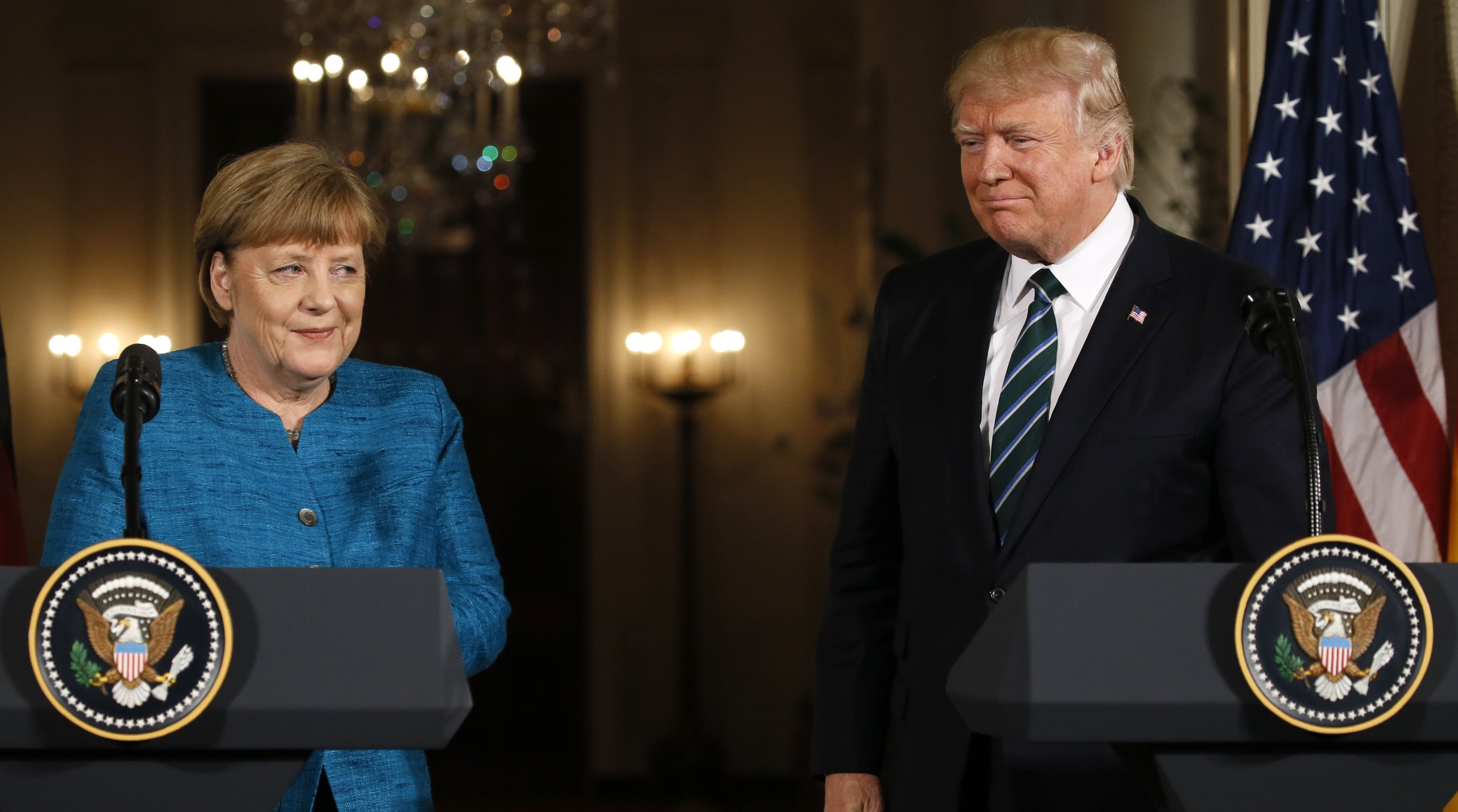 U.S. President Donald Trump and German Chancellor Angela Merkel conclude their joint news conference in the East Room of the White House in Washington, U.S., on March 17, 2017. (REUTERS/Jim Bourg)