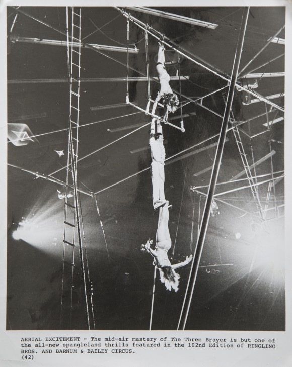 Ildiko Trien (nee Brayer) (bottom) completes one of the most difficult maneuvers on a trapeze, with her brother, Csaba, catching her with his feet. The duo were in Florida as part of a cultural exchange with the Ringling Bros. circus in 1971. (Courtesy of Ildiko Trien)