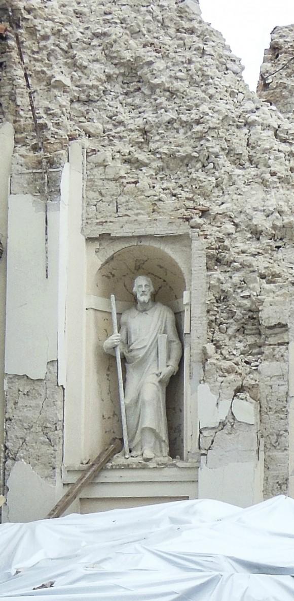 The statue of St. Filippo Neri and the façade is all that remains of the Chiesa Della Madonna church. (Angela Giuffrida)