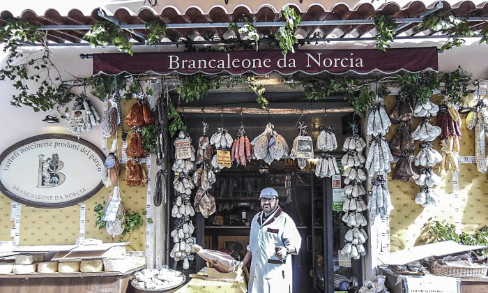 Butcher shop Brancaleone da Norcia is one of the few to reopen after the quake devastated local businesses. (Angela Giuffrida)