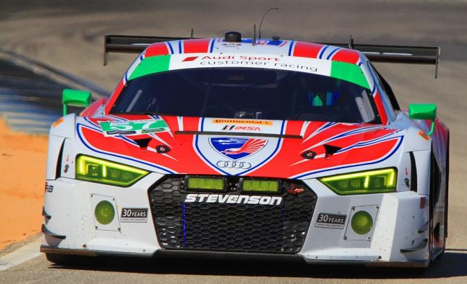 Andrew Davis in the #57 Stevenson Audi R8 LMS GT3 was quickest in GT Daytona. (Chris Jasurek/Epoch Times)