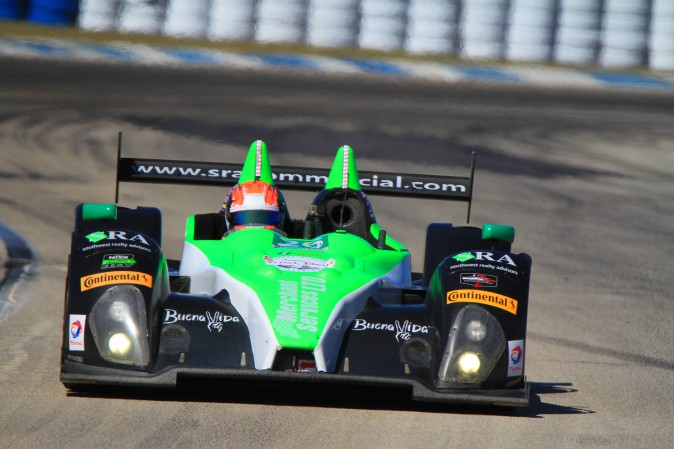 Colin Thompson in the #26 Prototype Challenge Oreca FLM09 led the class with a lap of 1:54.741 at117.3 mph. (Chris Jasurek/Epoch Times)