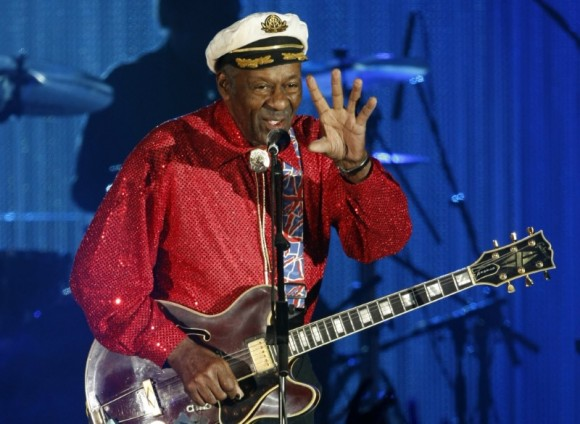 Rock and roll legend Chuck Berry performs during the Bal de la Rose in Monte Carlo, March 28, 2009. (REUTERS/Eric Gaillard)