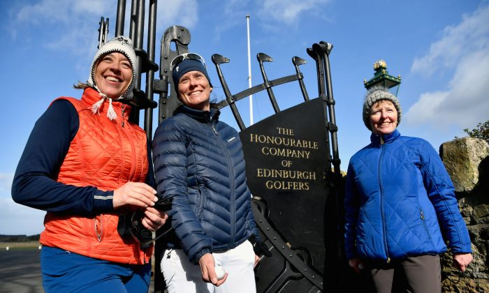 Anna Diertrich, Pascale Reinhard, and Janet Siehnthiler from Switzerland stand outside Muirfield Golf Club following their round of golf on March 14, 2017 in Gullane, Scotland. Muirfield golf club members have voted to admit women members after the privately owned club voted 80 percent in favor in updating the membership policy. (Jeff J. Mitchell/Getty Images)