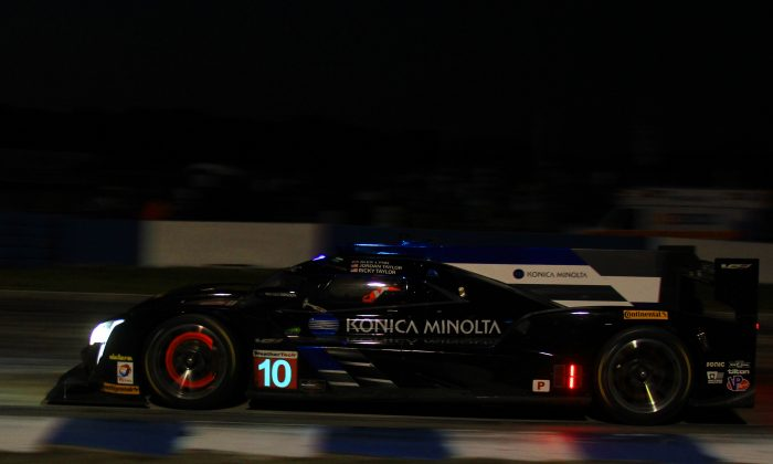 Jordan Taylor in the #10 Konica-Minolta Cadillac leads the IMSA Twelve Hours of Sebring after ten hours. (Chris Jasurek/Epoch Times)