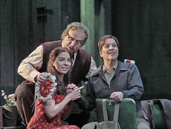 Hanna-Elizabeth Müller as Marzelline, Falk Struckmann as Rocco, and Adrianne Pieczonka as Leonore in Beethoven's Fidelio . (Ken Howard/Metropolitan Opera)