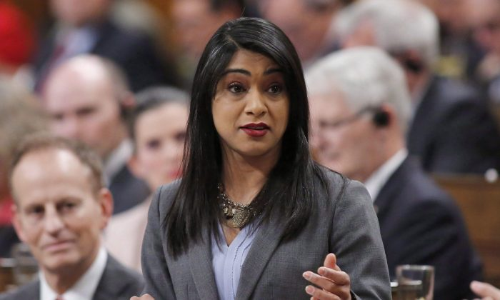 Government House Leader Bardish Chagger during question period in the House of Commons on March 9, 2017. Chagger, as well as Employment Minister Carla Qualtrough and Ian Shugart, clerk of the Privy Council will appear before the House of Commons ethics committee today to answer questions on the Liberal Government's awarding of a $912 million contract to WE Charity. (Patrick Doyle/The Canadian Press)