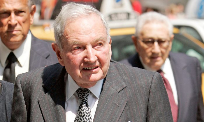 David Rockefeller arrives at the funeral service for New York socialite and philanthropist Brooke Astor at St. Thomas Church in New York on Aug. 17, 2007. (REUTERS/Jeff Zelevansky)