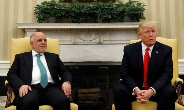 U.S. President Donald Trump meets with Iraqi Prime Minister Haider al-Abadi at the White House in Washington, U.S. on March 20, 2017. (REUTERS/Kevin Lamarque)