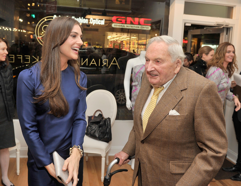 Designer Ariana Rockefeller and David Rockefeller attend the private reception celebrating the opening of the Ariana Rockefeller Pop-up Shop in New York City on Nov. 4, 2013. (Stephen Lovekin/Getty Images for Ariana Rockefeller)