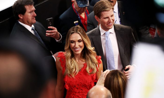 Eric Trump, along with his wife Lara Yunaska, takes part in the roll call in support of Republican presidential candidate Donald Trump on the second day of the Republican National Convention at the Quicken Loans Arena in Cleveland, OH., on July 19, 2016.  (Win McNamee/Getty Images)