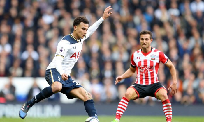 Dele Alli of Tottenham Hotspur in action during the Premier League match between Tottenham Hotspur and Southampton at White Hart Lane on March 19, 2017 in London, England. (Warren Little/Getty Images)