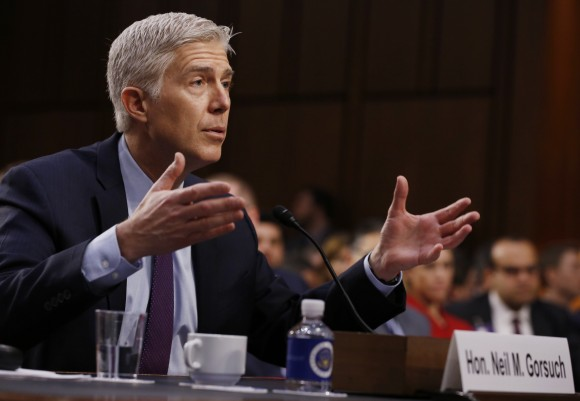 U.S. Supreme Court nominee judge Neil Gorsuch testifies during the second day of his Senate Judiciary Committee confirmation hearing on Capitol Hill in Washington March 21, 2017.