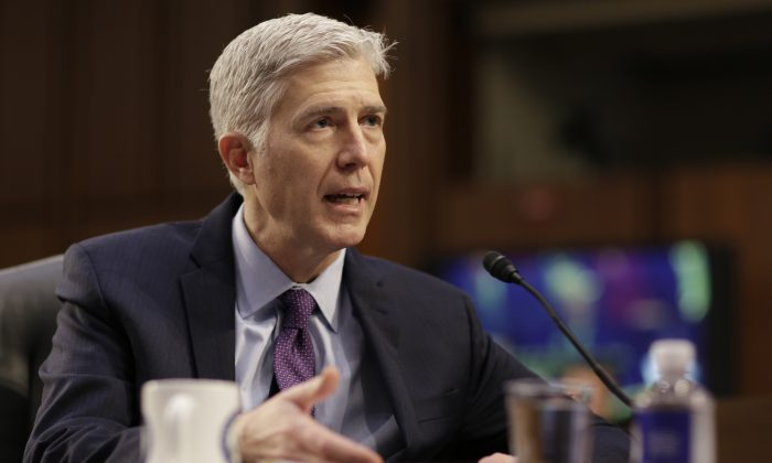 U.S. Supreme Court nominee judge Neil Gorsuch testifies during the second day of his Senate Judiciary Committee confirmation hearing on Capitol Hill in Washington, U.S., March 21, 2017. (REUTERS/Joshua Roberts)