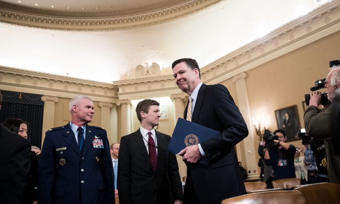James Comey, Director of the FBI, arrives for a House Permanent Select Committee on Intelligence hearing concerning Russian meddling in the 2016 United States election, on Capitol Hill in Washington on March 20, 2017. (Drew Angerer/Getty Images)
