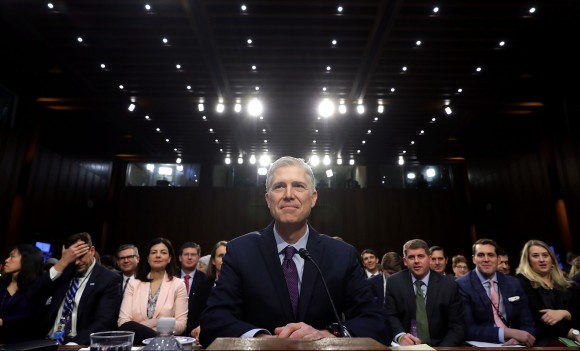 Judge Neil Gorsuch prepares to testify during the second day of his Supreme Court confirmation hearing before the Senate Judiciary Committee in the Hart Senate Office Building on Capitol Hill in Washington on March 20, 2017. Gorsuch was nominated by President Donald Trump to fill the vacancy left on the court by the Feb. 2016 death of Associate Justice Antonin Scalia. (Chip Somodevilla/Getty Images)