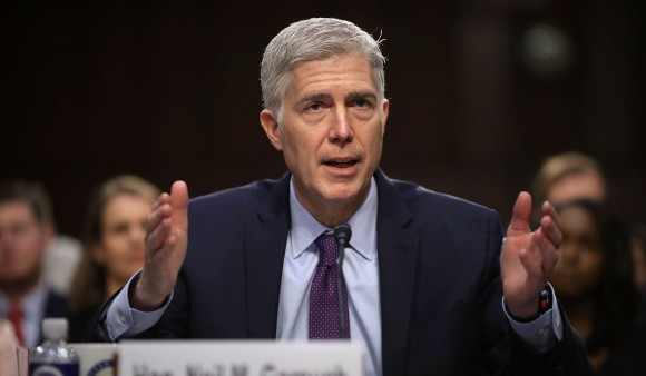 Judge Neil Gorsuch testifies during the second day of his Supreme Court confirmation hearing before the Senate Judiciary Committee in the Hart Senate Office Building on Capitol Hill in Washington, DC. on March 20, 2017. (Photo by Chip Somodevilla/Getty Images)