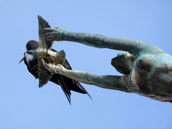 """""""Los Milenios,"""" with a live frigatebird perched on the dove of peace. (Barbara Angelakis)"""