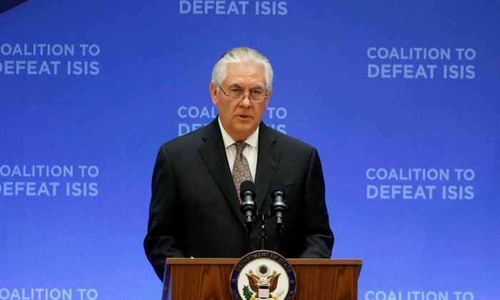 U.S. Secretary of State Rex Tillerson delivers remarks at the morning ministerial plenary for the Global Coalition working to Defeat ISIS at the State Department in Washington, U.S. on March 22, 2017. (REUTERS/Joshua Roberts)
