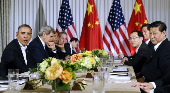 President Barack Obama speaks during a bilateral meeting with Chinese President Xi Jinping at the Annenberg Retreat at Sunnylands in Rancho Mirage, California, on June 7, 2013. (JEWEL SAMAD/AFP/Getty Images)