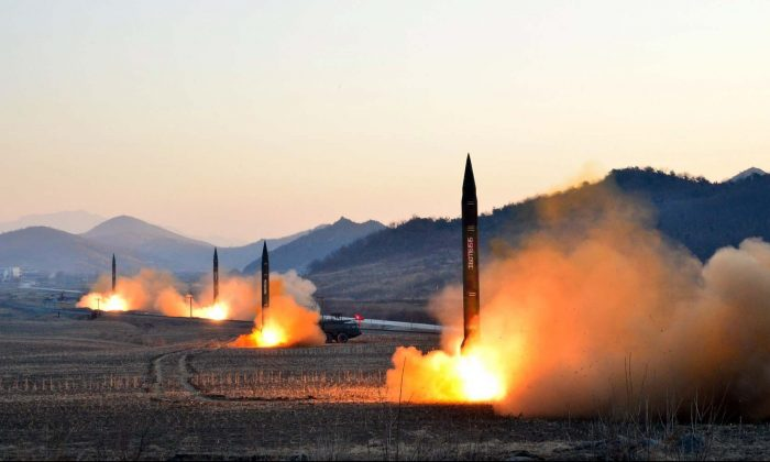 This undated picture released by North Korea's Korean Central News Agency (KCNA) via KNS on March 7, 2017 shows the launch of four ballistic missiles by the Korean People's Army (KPA) during a military drill at an undisclosed location in North Korea. (STR/AFP/Getty Images)