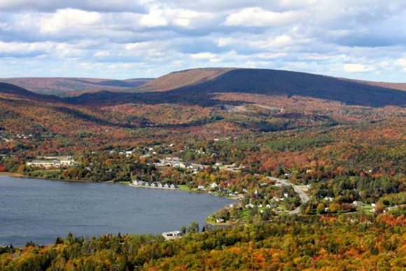 View of Whycocomagh village from nearby Salt Mountain. (Courtesy of Heather Coulombe)