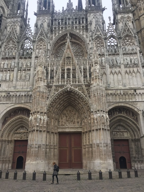 Damaged over the years by war, fire, and lightning, Rouen Cathedral still stands tall above the city. (Janna Graber)