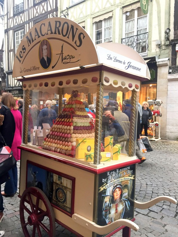 An advertisement in Rouen for Les larmes de Jeanne d'Arc (Tears of Joan of Arc) chocolate and confectionary made by artisan-chocolatier Jean-Marie Auzou. (Jana Graber)