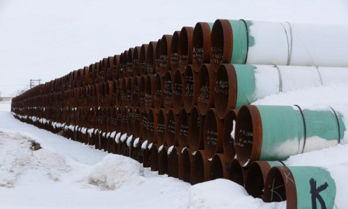 A depot used to store pipes for Transcanada Corp's planned Keystone XL oil pipeline is seen in Gascoyne, North Dakota on Jan. 25, 2017.(REUTERS/Terray Sylvester)