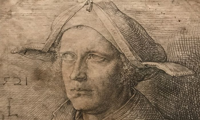 """""""Portrait of a Man with a Cast in his Eye,"""" (Detail) 1521, by Lucas van Leiden (circa 1494–1533, The Netherlands). Charcoal and black chalk, with traces of white chalk, Nationalmuseum, Sweden. (Milene Fernandez/Epoch Times)"""