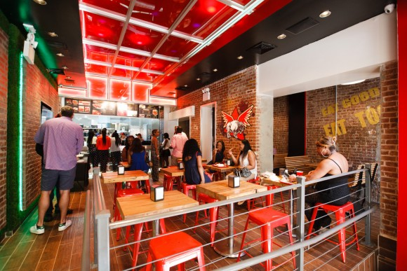 Buffalo Boss, a New York based fast food restaurant. The company has three locations in New York City including Harlem, Brooklyn, and Barclays Arena. (Guy Chan Photography)
