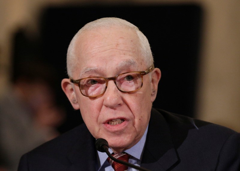 Former U.S. attorney general Michael Mukasey during the second day of confirmation hearings on Senator Jeff Sessions (R-AL) nomination to be U.S. attorney general in Washington on Jan. 11, 2017. (REUTERS/Joshua Roberts)