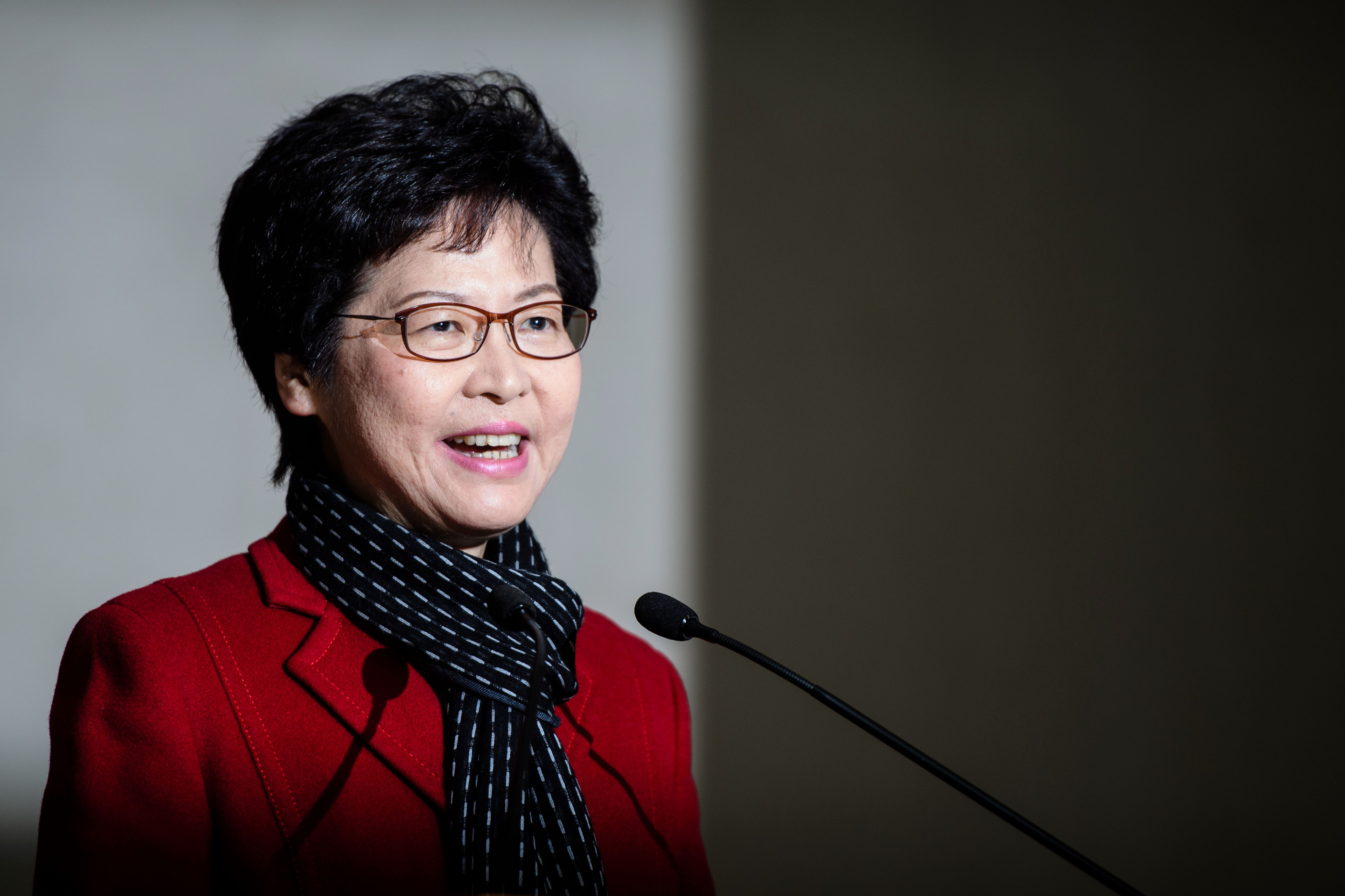 Hong Kong's chief executive-elect Carrie Lam in Hong Kong on March 27, a day after Lam won the Hong Kong chief executive election. (ANTHONY WALLACE/AFP/Getty Images)