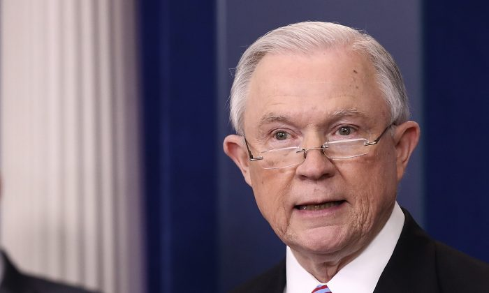 Attorney General Jeff Sessions delivers remarks during the daily White House press briefing in Washington on March 27, 2017. (Win McNamee/Getty Images)