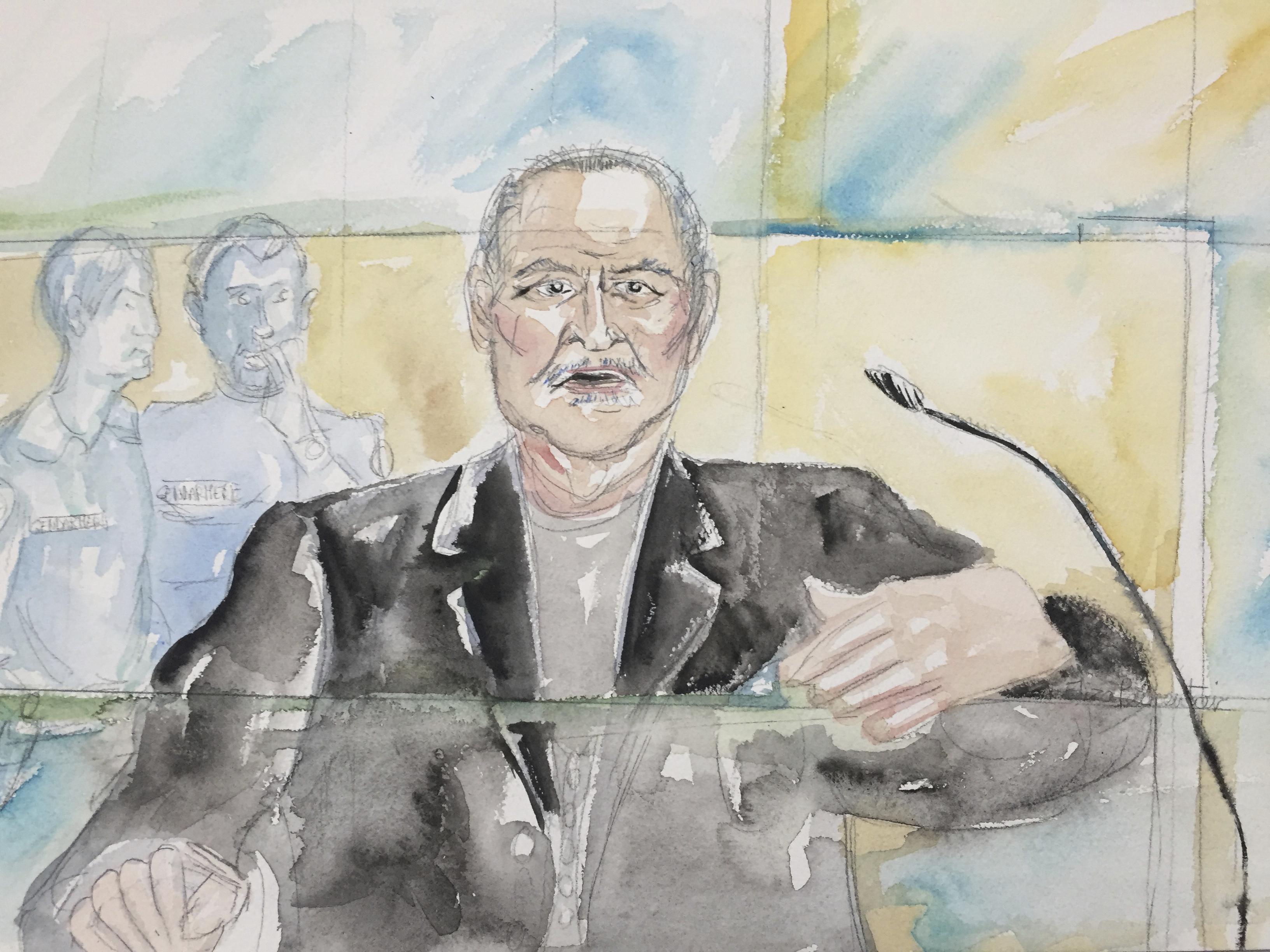 """Venezuelan-born Ilich Ramirez Sanchez known as """"Carlos the Jackal"""" during his trial at a Paris courthouse, France. (Eliza Parmentier via AP)"""
