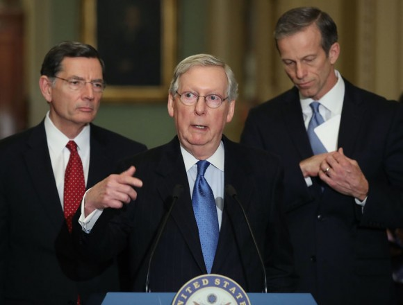 Senate Majority Leader Mitch McConnell (R-KY) (C) speaks to the media on Capitol Hill in Washington on March 21, 2017. (Mark Wilson/Getty Images)