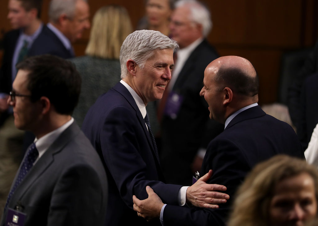 Judge Neil Gorsuch (L) during the third day of his Supreme Court confirmation hearing before the Senate Judiciary Committee in the Hart Senate Office Building on Capitol Hill in Washington on March 22, 2017. (Justin Sullivan/Getty Images)