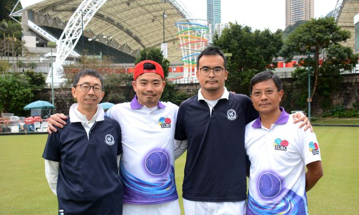 (L-R) Albert Lo CCC, Bronson Fung ILBC, Robin Chok CCC and Li Ming Sum ILBC, winners of the semi-finals held at IRC on Sunday March 26, who will play each other in the Final of the 2017 Men's National Pairs in July. (Stephanie Worth)