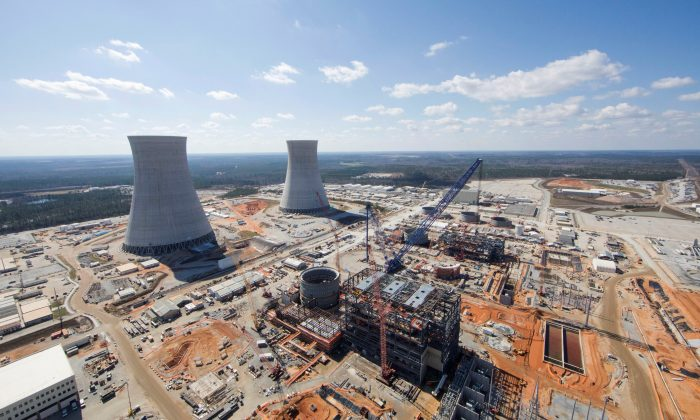 The Vogtle Unit 3 and 4 site, being constructed by primary contactor Westinghouse, a business unit of Toshiba, near Waynesboro, Georgia in an aerial photo taken Feb. 2017. (Georgia Power/Handout via REUTERS)