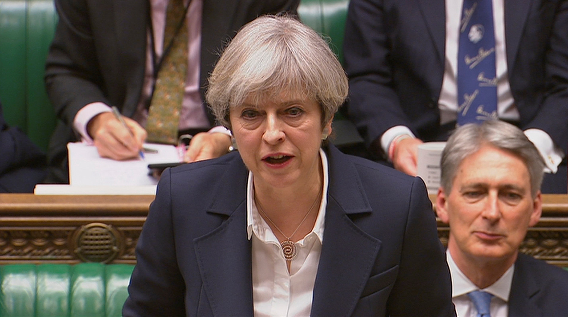 Britain's Prime Minister Theresa May speaks in Parliament as she announces that she has sent the letter to trigger the process of leaving the European Union in London on March 29, 2017. (Parliament TV handout via REUTERS)