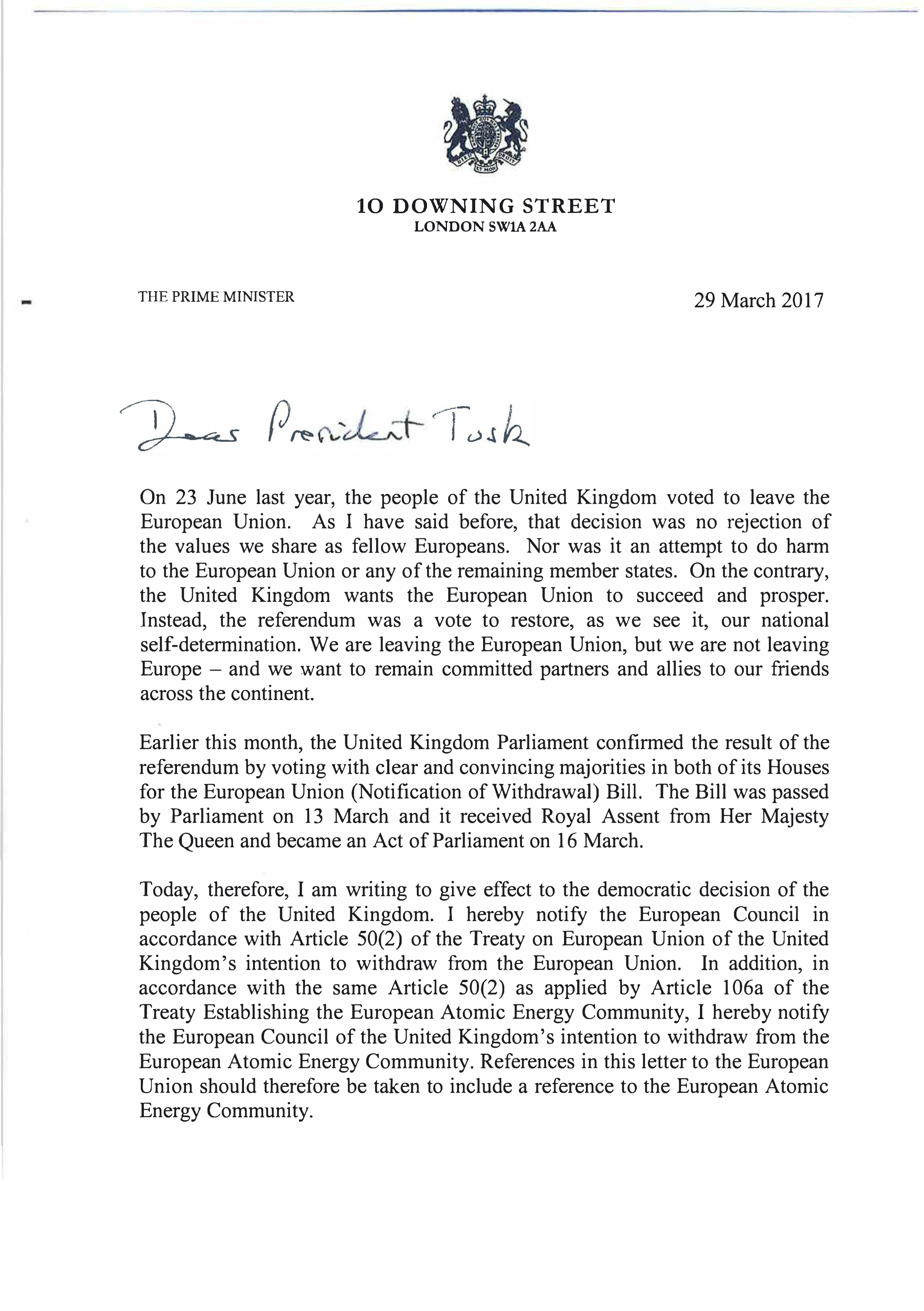 This is the text of the letter that Britain's Prime Minister Theresa May sent to EU Council President Donald Tusk, triggering Article 50 of the Lisbon Treaty on March 29, 2017. (10 Downing Street/ via AP)