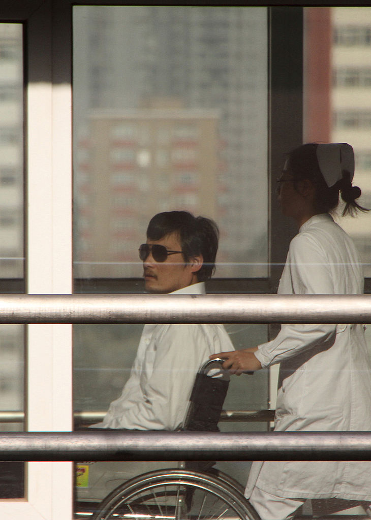 Chinese activist activist Chen Guangcheng (L) at the Chaoyang hospital in Beijing on May 2, 2012. (Jordan Pouille/AFP/GettyImages)