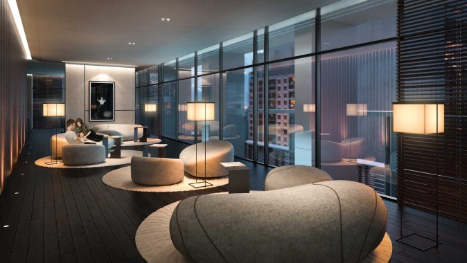 Rendering of the Teahouse Condos Rock Lounge. (Courtesy of Lanterra Developments)