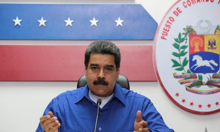 Venezuela's President Nicolas Maduro speaks during a meeting with ministers in Caracas, Venezuela on March 14, 2017. (Miraflores Palace/Handout via REUTERS)