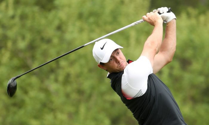 Northern Ireland's Rory McIlroy tees off on the third hole during the third round of the World Golf Championships-Dell Technologies Match Play at the Austin Country Club on March 24, 2017 in Austin, Texas. (Christian Petersen/Getty Images)