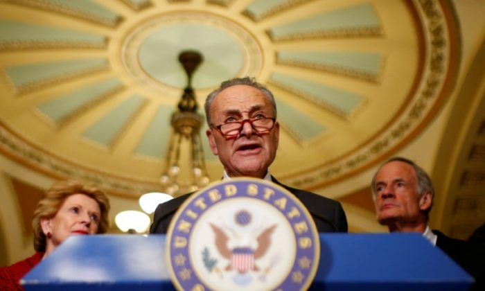 U.S. Senate Minority Leader Chuck Schumer (D-NY) speaks to reporters after the weekly Democratic caucus policy luncheon at the U.S. Capitol in Washington on March 28, 2017. (REUTERS/Eric Thayer)