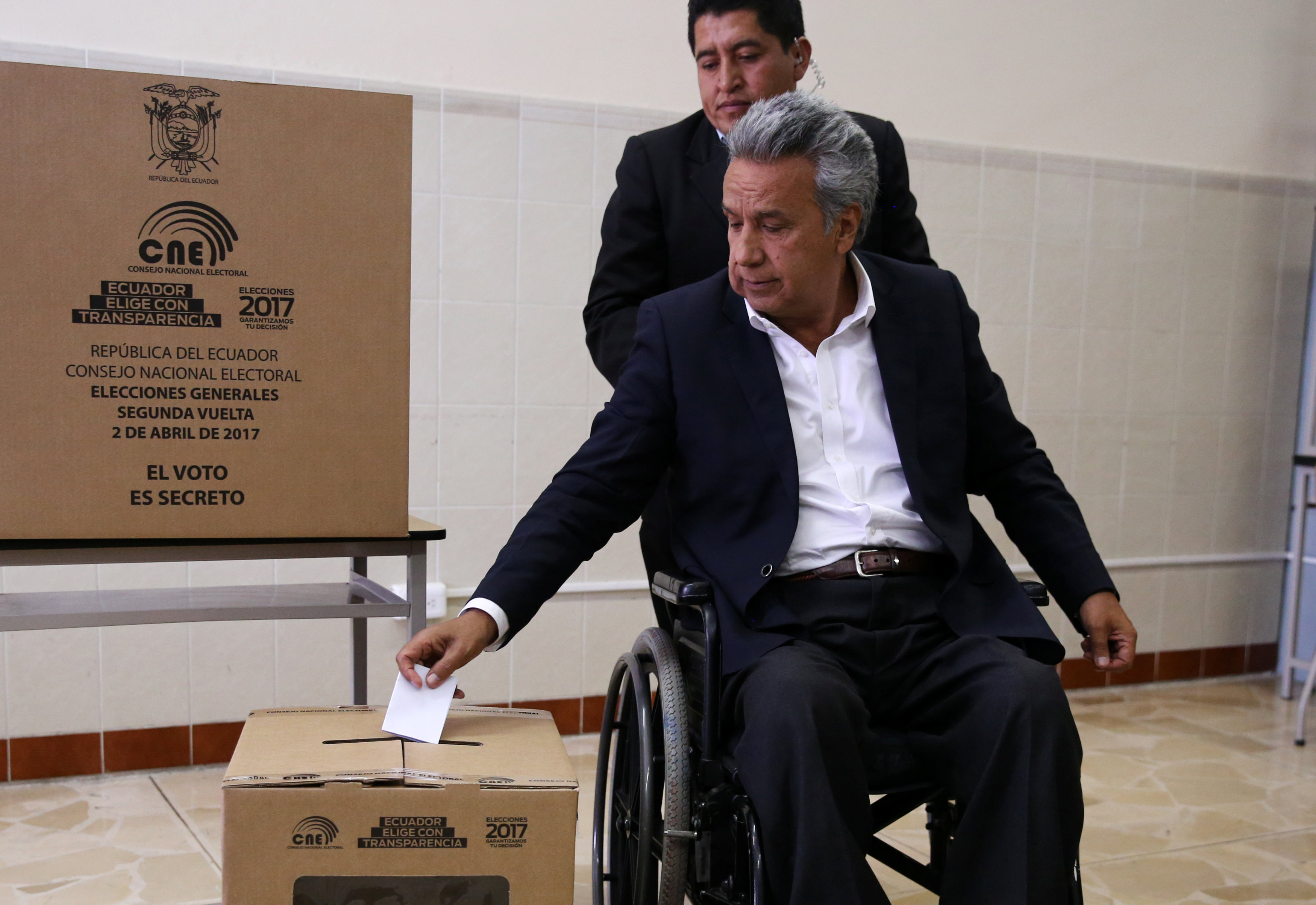 Socialist candidate Lenin Moreno casts his vote during the presidential election in Quito, Ecuador on April 2, 2017. (REUTERS/Mariana Bazo)